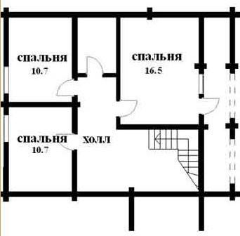 Дом из оцилиндрованного бревна ОБ-122 (8x8,7 м)