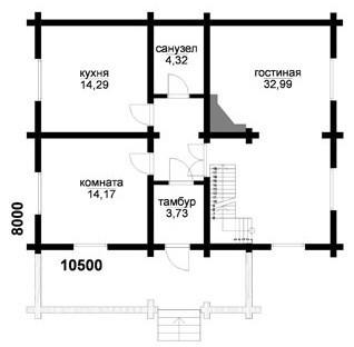 Дом из оцилиндрованного бревна ОБ-152 (8x10,5 м)