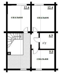 Дом из оцилиндрованного бревна ОБ-172 (9,3x10,5 м)