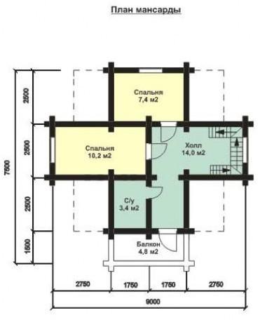 Дом из оцилиндрованного бревна ОБ-91 (7,5x9 м)