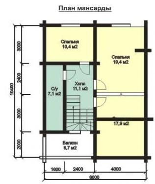 Дом из оцилиндрованного бревна ОБ-163 (10,4x11,4 м)