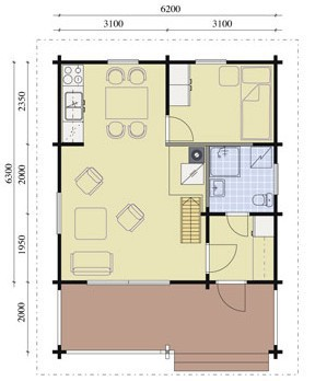 Дом из оцилиндрованного бревна ОБ-98 (6,2x8,3 м)