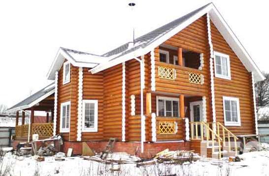 Дом из оцилиндрованного бревна ОБ-220 (13,6x11,8 м)