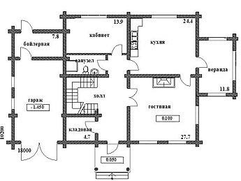Дом из оцилиндрованного бревна ОБ-270 (10,2x18 м)