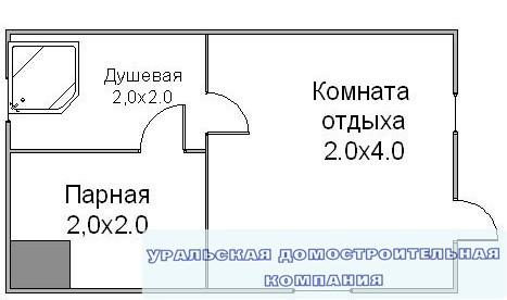 Баня из  бруса БН-16-2 (4x4 м)
