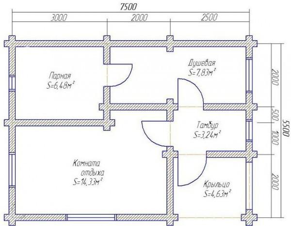 Баня из бруса в чашку БН-36-2 (6x6+2 м веранда)