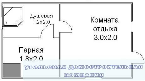 Баня из бруса БН-12 ( 3,0x5,0 м )