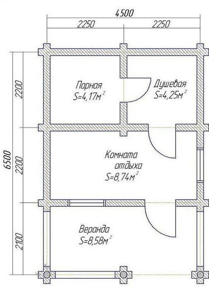 Баня из   бруса в чашку  БН-25-2 ( 5 x5 м с верандой 1.5 метра.)