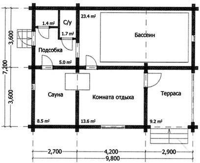 Баня из оцилиндрованного бревна БН-70 (9,8x7,2 м)
