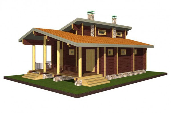 Дом из бруса 200х200 6х8 с верандой