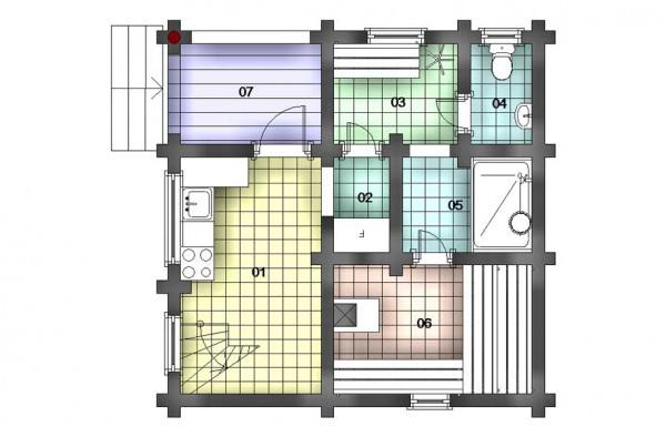Дом из оцилиндрованного бревна, со 2 этажом