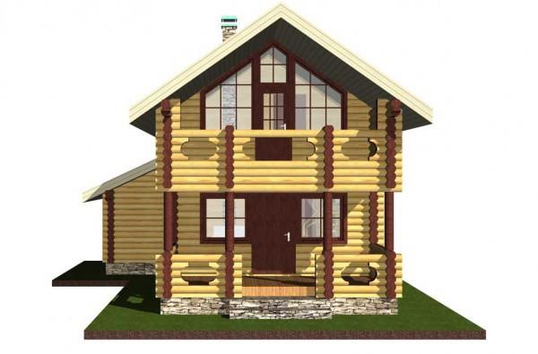 Дом из оцилиндрованного бревна.