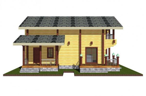 Дом из оцилиндрованного бревна, со 2 этажом и верандой