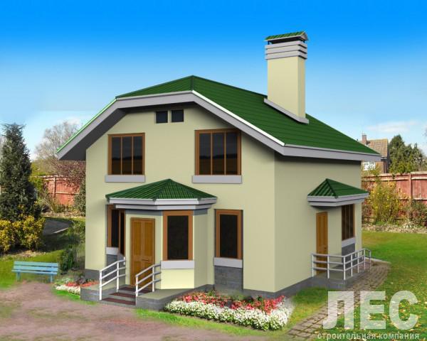 Проект дома из пеноблоков ПБ-166 (9,3x12,3 м2)