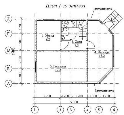 Дом из бруса ДБ-88 (7,40x9,00 м)