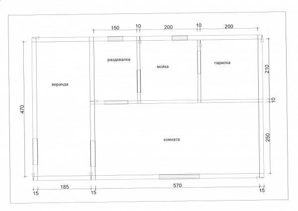 Баня из бруса 150х200 мм, 5х6+2 м веранда