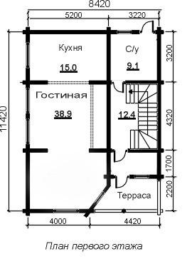 Коттедж из бруса КБ-1 (11,42x8,42 м)