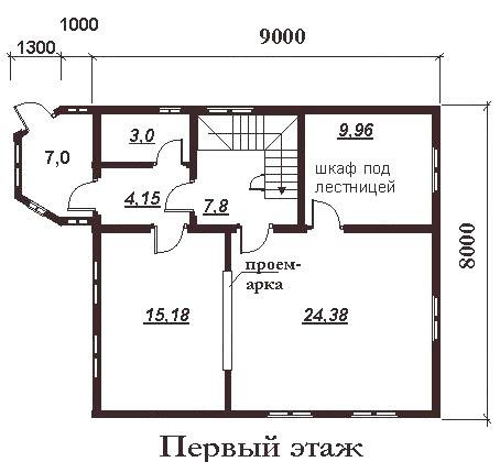 Коттедж из бруса КБ-3 (9,0x8,0 м)