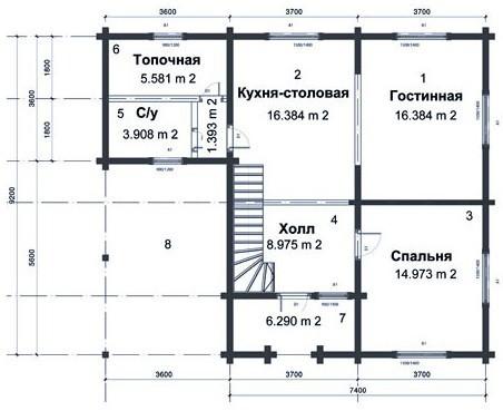 Коттедж из бруса КБ-8 (9,20x11,00 м)