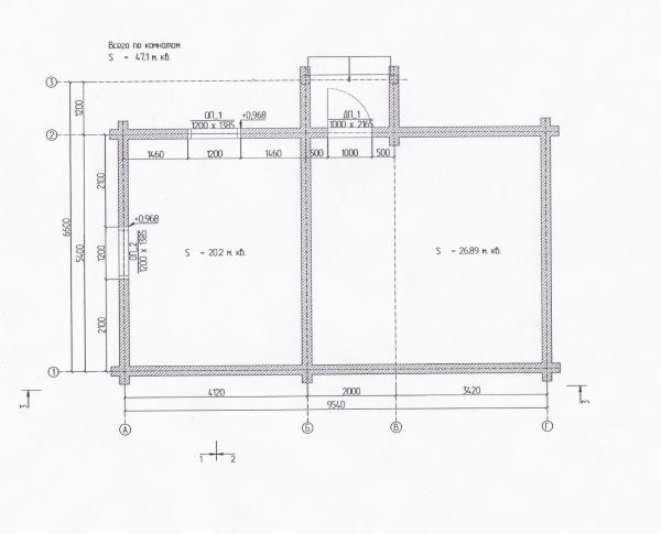 Баня из оцилиндрованого бревна.  Диаметрам 220 мм, 6х9 м