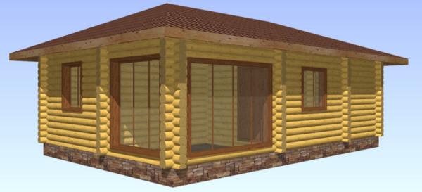 Баня-дом из оцилиндрованного бревна Д.220 мм, 7х10 м