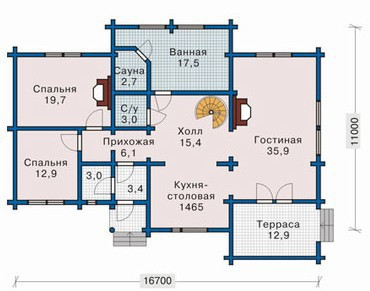 Коттедж из бруса КБ-12 (16,70x11,00 м)