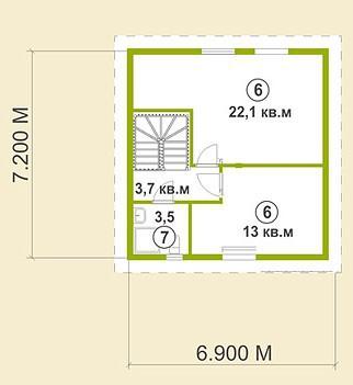 Коттедж из бруса КБ-16 (15,00x11,60 м)