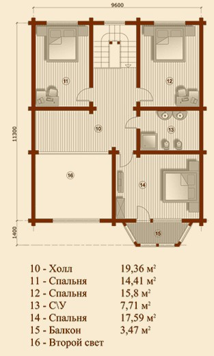 Коттедж из бруса КБ-18 (11,30x12,60 м)