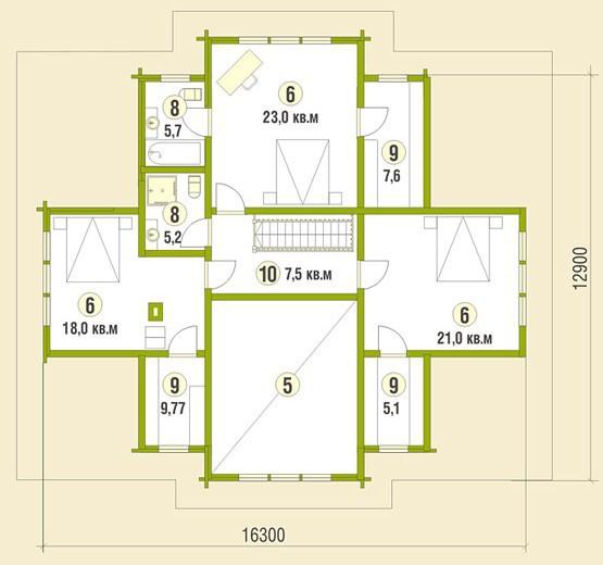 Коттедж из бруса КБ-22 (16,30x12,90 м)
