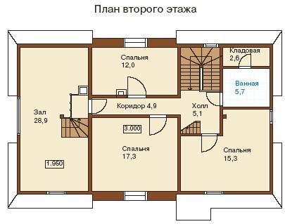 Коттедж из бруса КБ-27 (7,8x13,6 м)