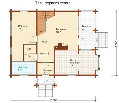 Коттедж из бруса КБ-28 (8,00x10,50 м)