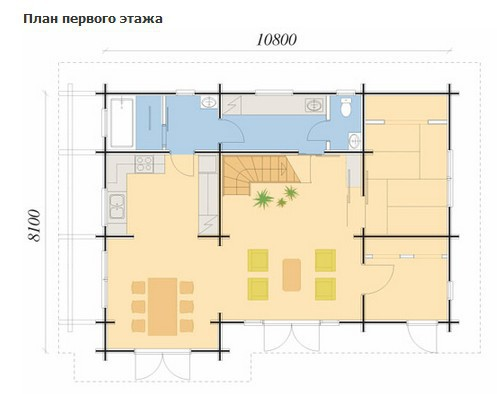 Коттедж из бруса КБ-36 (8,10x10,80 м)
