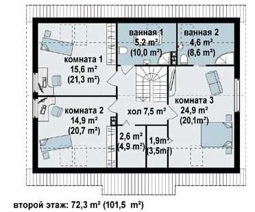 Кирпичный коттедж КК-197 (12,48x10,08 м)