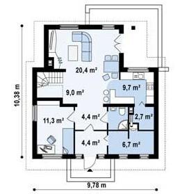 Кирпичный коттедж КК-143 (9,78 x10,38м)