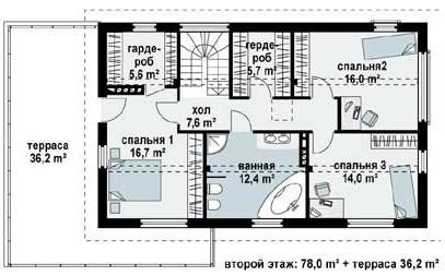 Кирпичный коттедж КК-192 (16,39x9,49 м)