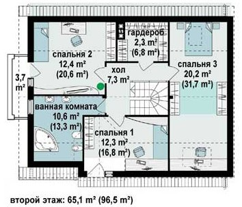 Кирпичный коттедж КК-194 (13,68x9,78 м)