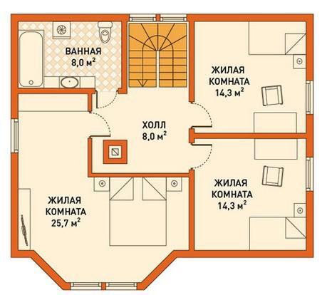Кирпичный коттедж КК-149 (8,0x10,0 м)