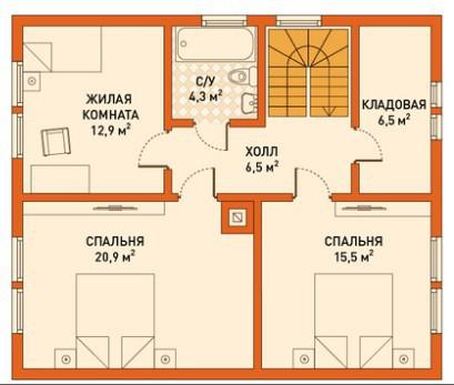 Кирпичный коттедж КК-140 (8,4x9,9 м)