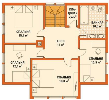 Кирпичный коттедж КК-170 (11,0x10,0 м)