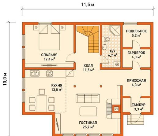 Кирпичный коттедж КК-186 (11,50 x10,00 м)