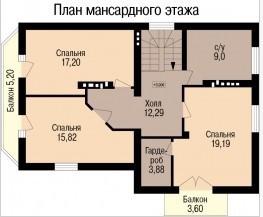 Кирпичный коттедж КК-158-2 (8,9x13,3 м)
