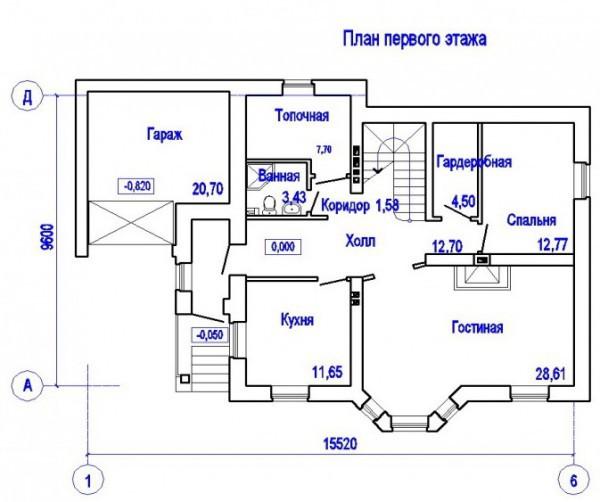Кирпичный коттедж КК-158-3 (9,60x15,52 м)
