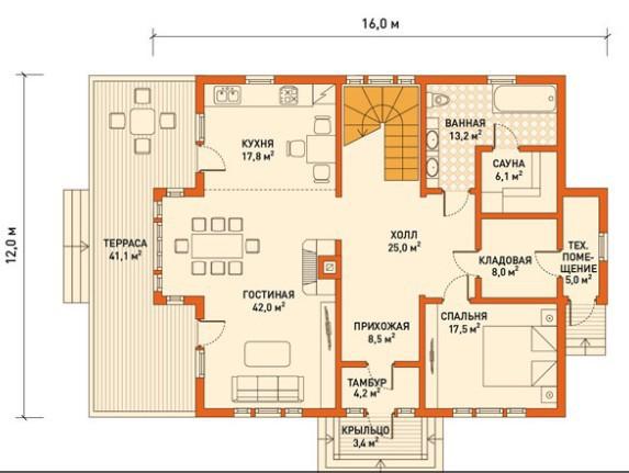 Кирпичный коттедж КК-271 (12,0 x16,0 м)