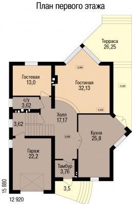 Кирпичный коттедж КК-246 (15,88x12,92 м)