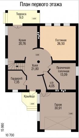 Кирпичный коттедж КК-243 (15,98 x10,70 м)