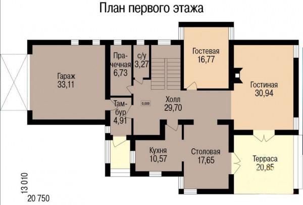Кирпичный коттедж КК-280 (13,00x20,75 м)