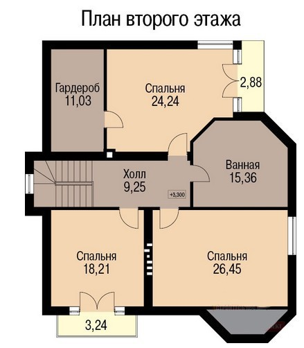 Кирпичный коттедж КК-263 (13,58x12,18 м)