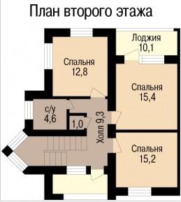 Кирпичный коттедж КК-280-2 (10,30x11,09 м)