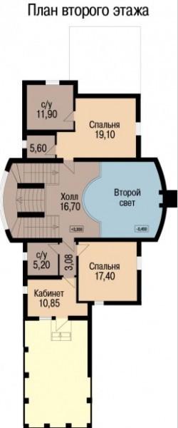 Кирпичный коттедж КК-264 (8,40x24,80 м)