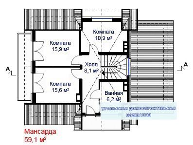 Кирпичный коттедж КК-223 (12,2x8,9 м)